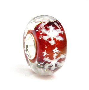 Pandora Let It Snow Snowflake Red Glass Charm