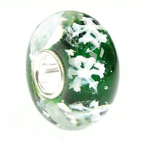 Pandora Let It Snow White Snowflake Green Murano Glass Charm
