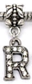Pandora Letter R Clear Rhinestone Dangle Charm