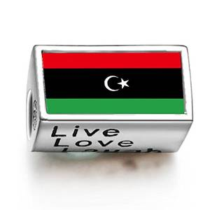 Pandora Libyan Flag Photo Flower Charm