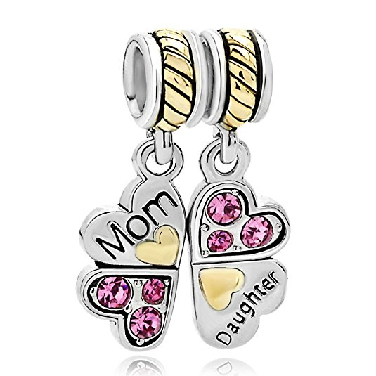 Pandora Lily Crystal Pink Flower Clear Dangle Crystal Charm image