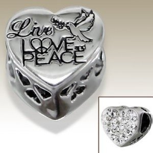 Pandora Live Love And Peace Swarovski Crystal Heart Charm smaller image