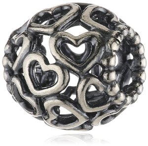 Pandora Lots Of Open Hearts Barrel Silver Charm