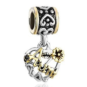 Pandora Love Aunt Flower Heart Dangle Charm