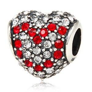 Pandora Love Heart With 2 Sparkling White Czech Crystal Charm