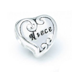 Pandora Love Niece Heart Flower Charm