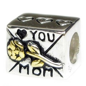 Pandora Love You Mom Gold Plated Flower Charm