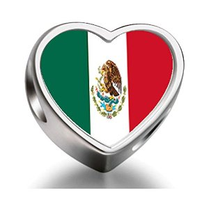 Pandora Mexico Flag Heart Photo Charm