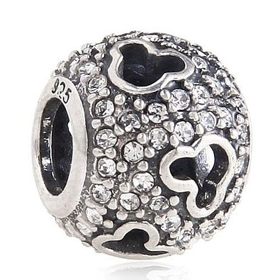 Pandora Mickey Mouse Face Pave Blue Clear Crystal Charm