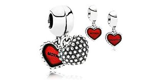 Pandora Mother And Daughter Red Hearts Charm