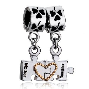 Pandora Mother Daughter Heart Four Leaf Clover Dangle Charm