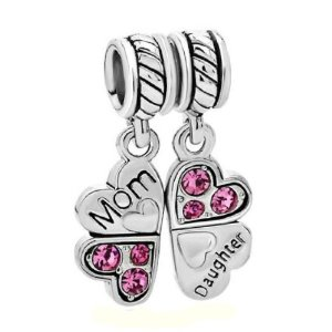 Pandora Mother Daughter Love Heart Pink Rose CZ Four Clover Leaf Charm