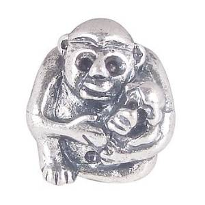 Pandora Mother Monkey With Baby Silver Charm