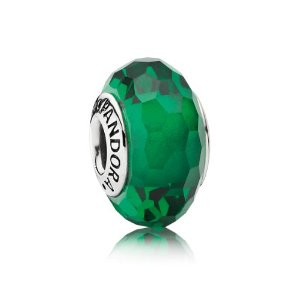Pandora Murano Glass Abstract Forest Green Charm