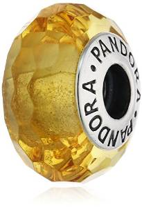 Pandora Murano Glass Golden Dust Black Sterling Silver Charm