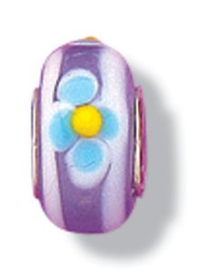 Pandora Murano Glass Purple Blue Flower Charm