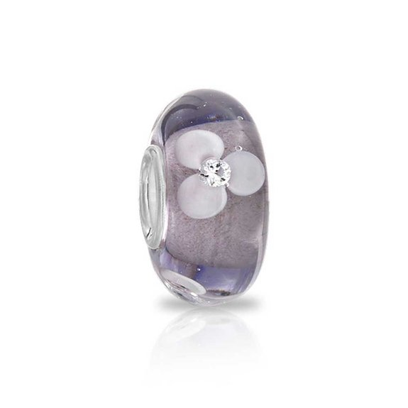 Pandora Murano Glass Purple Flower Charm