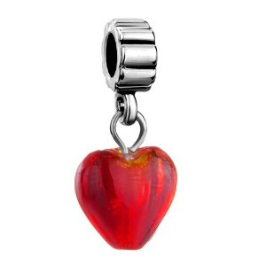 Pandora Murano Glass Red Heart Dangle Charm