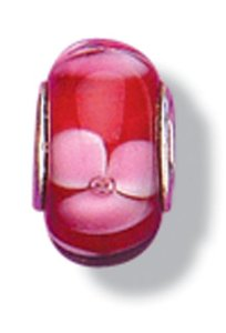 Pandora Murano Glass Red With Pink Flower Charm