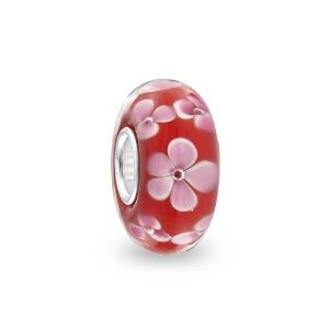 Pandora Murano Red Flower Glass Charm