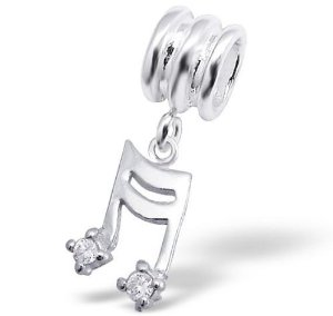 Pandora Music Note Dangling Crystal Charm