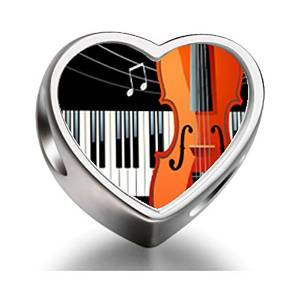 Pandora Music Piano Cello Heart Photo Charm