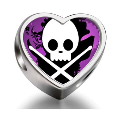Pandora Music Theme Skull Music Heart Photo Charm