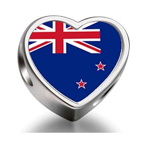 Pandora New Zealand Flag Heart Photo Charm