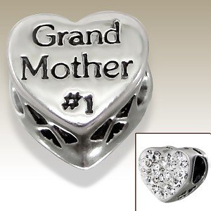 Pandora Number 1 Grandmother Crystal Heart Charm