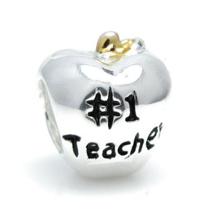 Pandora Number 1 Teacher Apple Charm