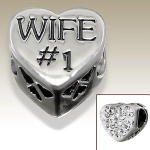 Pandora Number 1 Wife Crystal Heart Charm