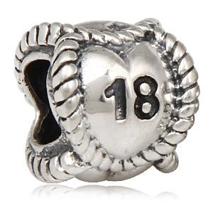 Pandora Number 18 On Continuous Heart Sterling Silver Charm image