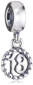 Pandora Number 18 Silver Dangle Charm