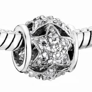 Pandora ONE GENUINE SOLID SILVER SWAROVSKI CLEAR CRYSTAL Charm