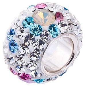 Pandora Opal And Blue Pink Crystals Sterling Silver Charm image