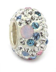 Pandora Opal With Pink White Blue Swarovski Crystals Charm
