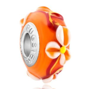 Pandora Orange Flower Murano Glass Charm