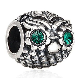 Pandora Owl With Green Crystal Eyes Charm