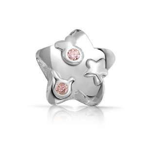 Pandora Patriotic Simulated Pink Topaz CZ Star Charm smaller image