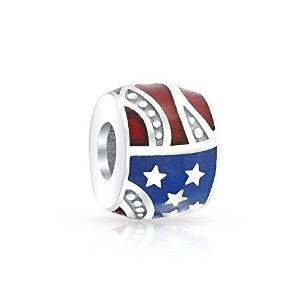 Pandora Patriotic Stars Stripes USA Flag Charm