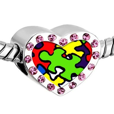 Pandora Pink Birthstone Crystal Puzzle Photo Charm