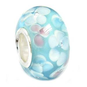 Pandora Pink Blue Flowers Glass Charm