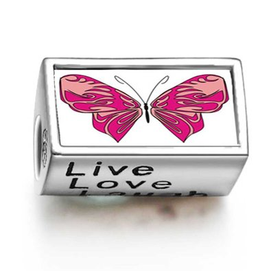 Pandora Pink Butterfly Live Love Laugh Photo Charm
