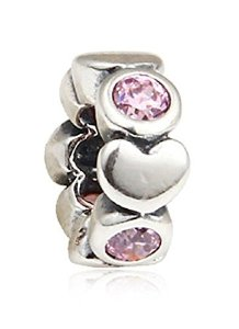 Pandora Pink Crystal Linked Hearts Charm