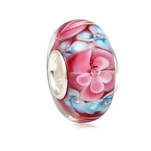 Pandora Pink Flower Blossom Glass Charm smaller image