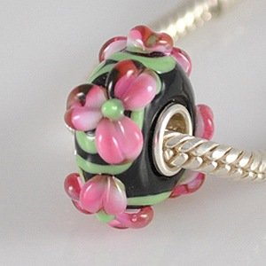 Pandora Pink Flowers Black Green Glass Charm smaller image