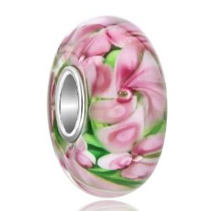 Pandora Pink Flowers Glass Charm