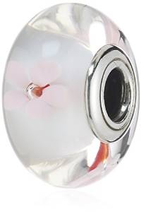 Pandora Pink Poppy Flowers Glass Charm