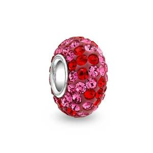 Pandora Pink Red Crystal Flower Silver Charm