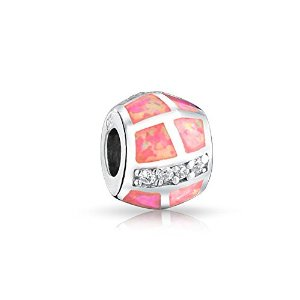 Pandora Pink Synthetic Opal Inlay Barrel Charm